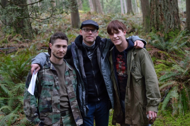 Director Jason Bourque (middle) with cast member Matthew MacCaull (left) & Dakota Daulby (right)