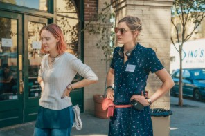 """This image released by A24 Films shows director Greta Gerwig, right, and Saoirse Ronan on the set of """"Lady Bird."""" Gerwig is expected to be the fifth woman nominated for an Oscar for best director when the nominations for the 90th annual Academy Awards are announced on Tuesday. (Merie Wallace/A24 via AP)"""